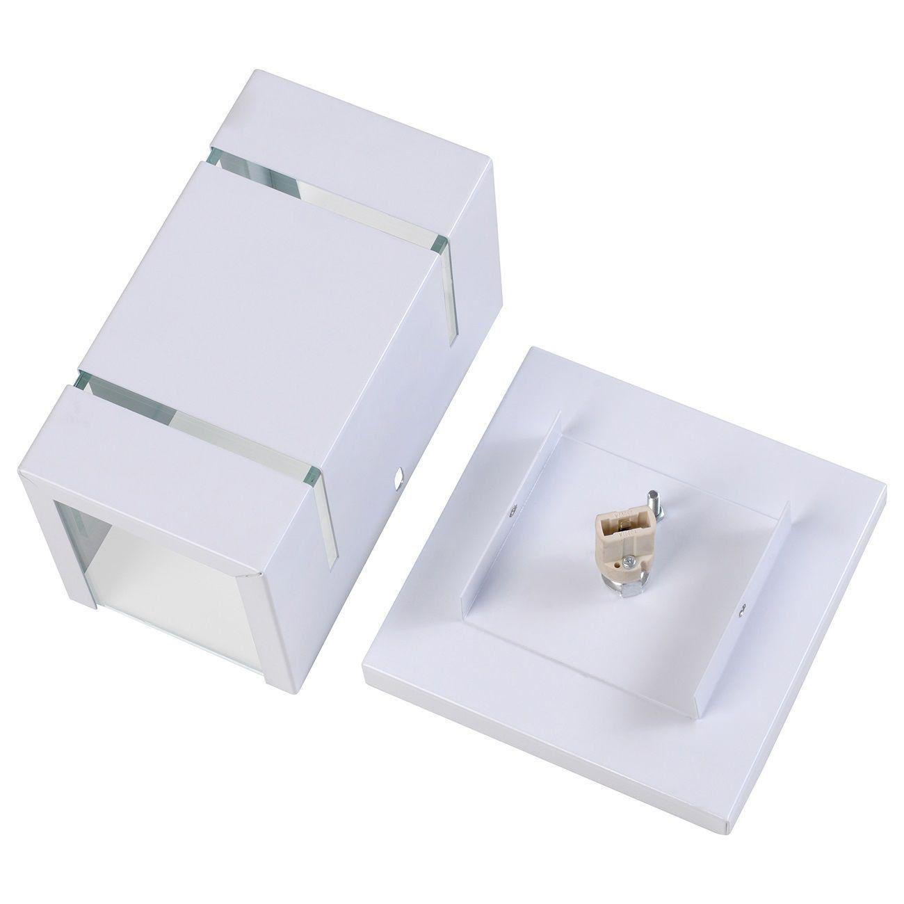 Arandela Catarina 8cm com Base Frisos Externa Interna Muro Parede Alumínio Branco - Rei da Iluminação