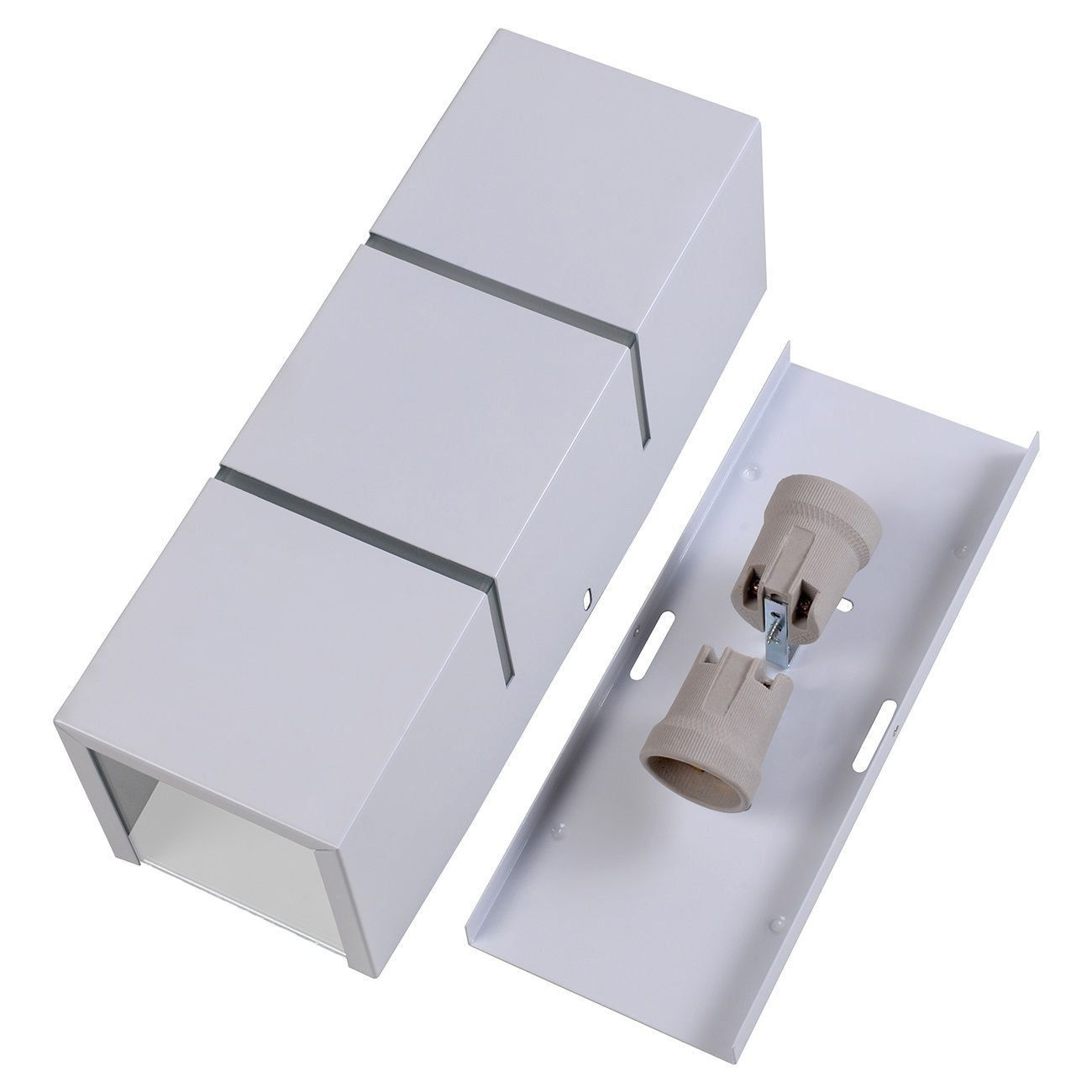Arandela Retangular 2 Frisos Externa Interna Muro Parede Alumínio Branco - Rei da Iluminação