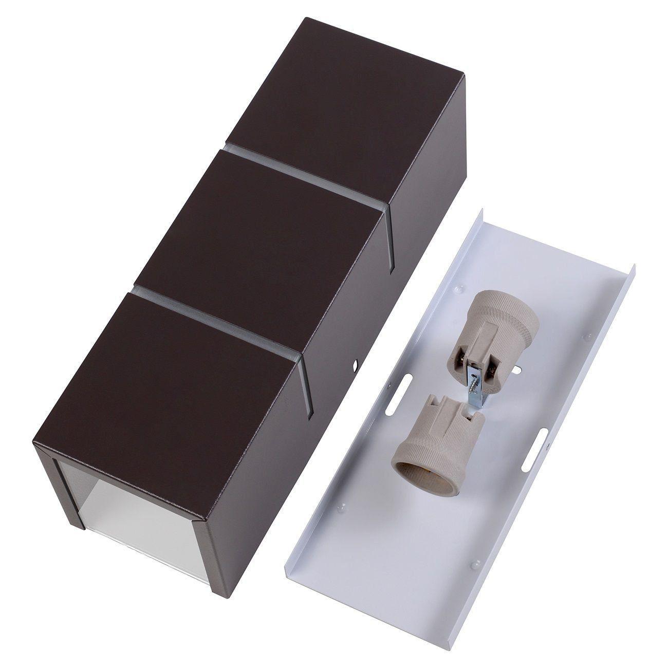 Arandela Retangular 2 Frisos Externa Interna Muro Parede Alumínio Marrom - Rei da Iluminação