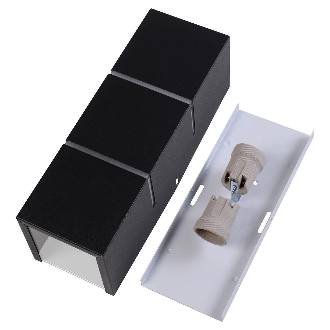 Arandela Retangular 2 Frisos Externa Interna Muro Parede Alumínio Preto - Rei da Iluminação