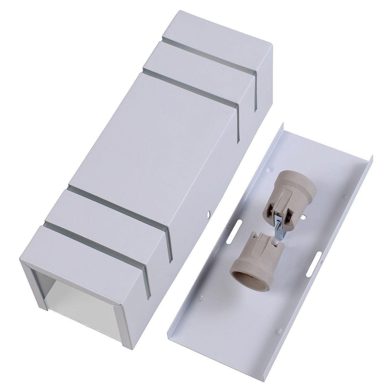 Arandela Retangular 4 Frisos Externa Interna Muro Parede Alumínio Branco - Rei da Iluminação