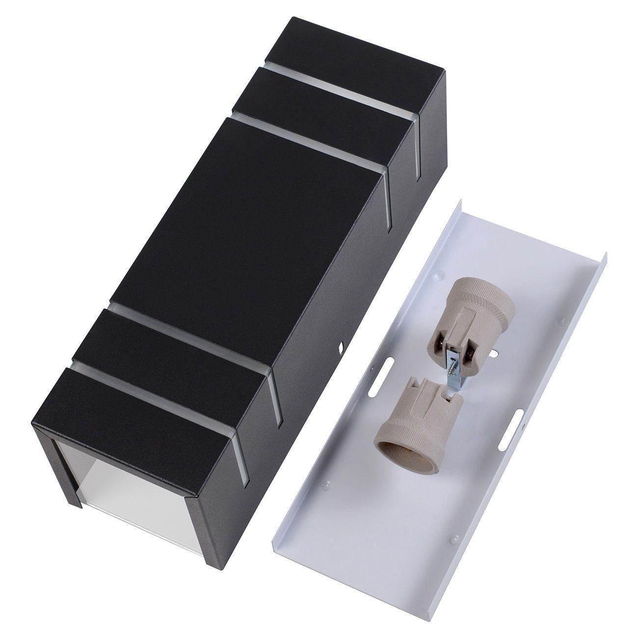 Arandela Retangular 4 Frisos Externa Interna Muro Parede Alumínio Preto - Rei da Iluminação