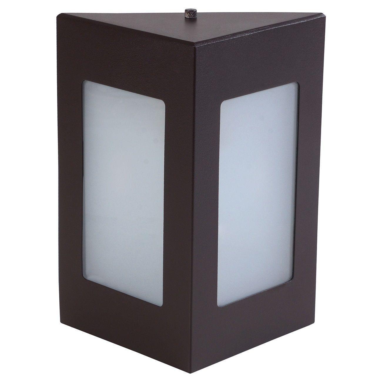 Arandela Triângular Luminária Externa Interna Muro Parede Alumínio Marrom - Rei da Iluminação