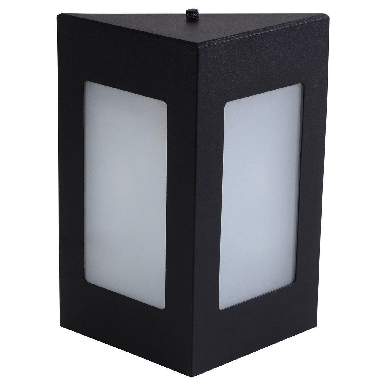 Arandela Triângular Luminária Externa Interna Muro Parede Alumínio Preto - Rei da Iluminação