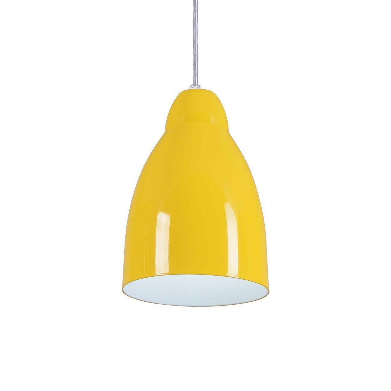 Pendente Bala Luminária Lustre Alumínio Amarelo - Rei Da Iluminação
