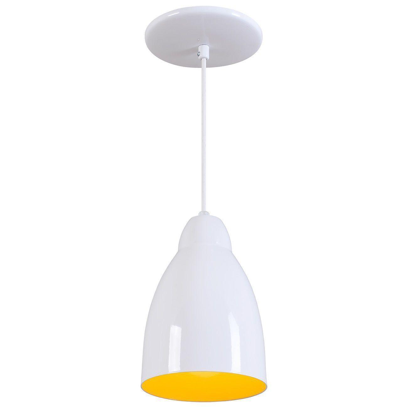Pendente Bala Luminária Lustre Alumínio Branco Brilhante C/ Amarelo - Rei Da Iluminação