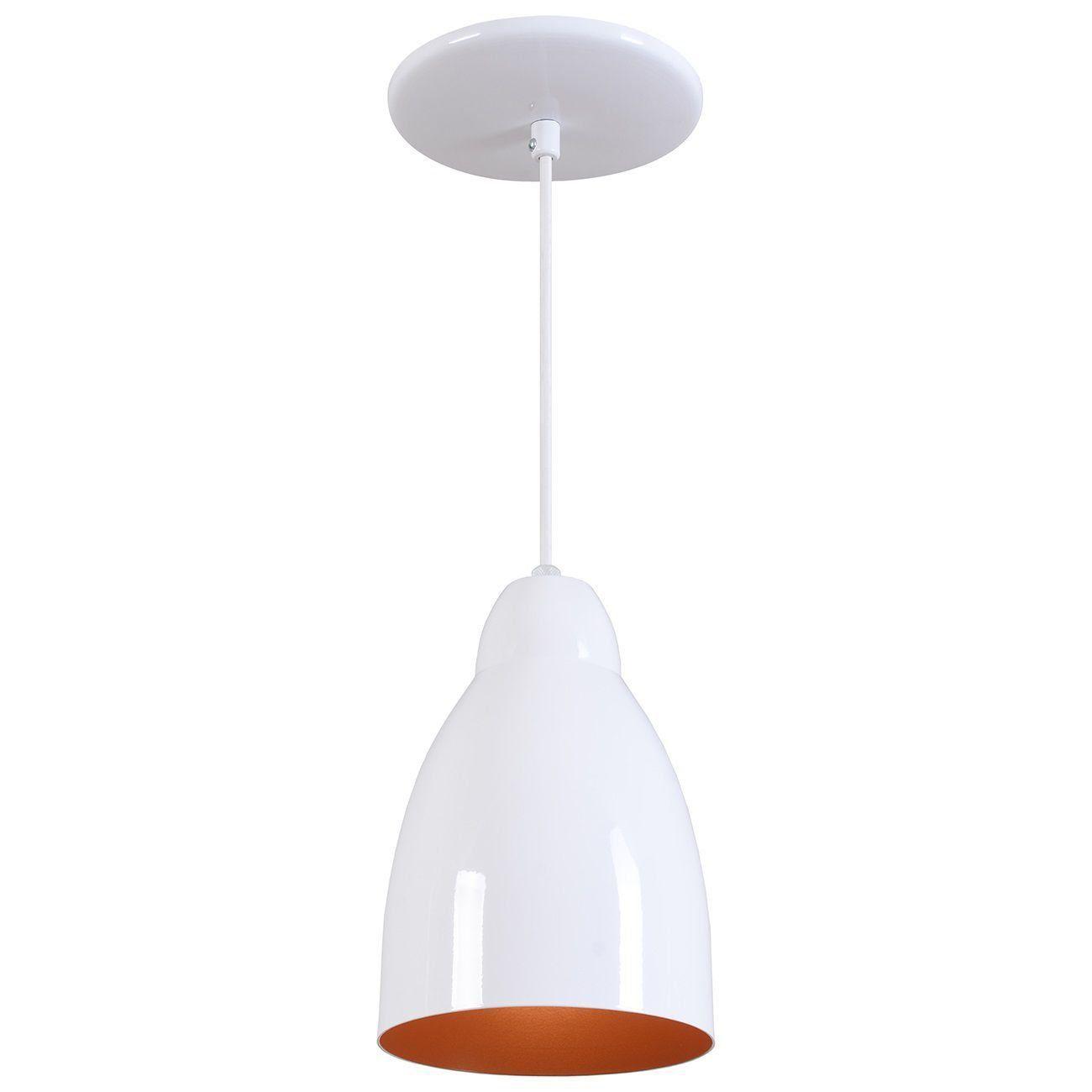 Pendente Bala Luminária Lustre Alumínio Branco Brilhante C/ Cobre - Rei Da Iluminação