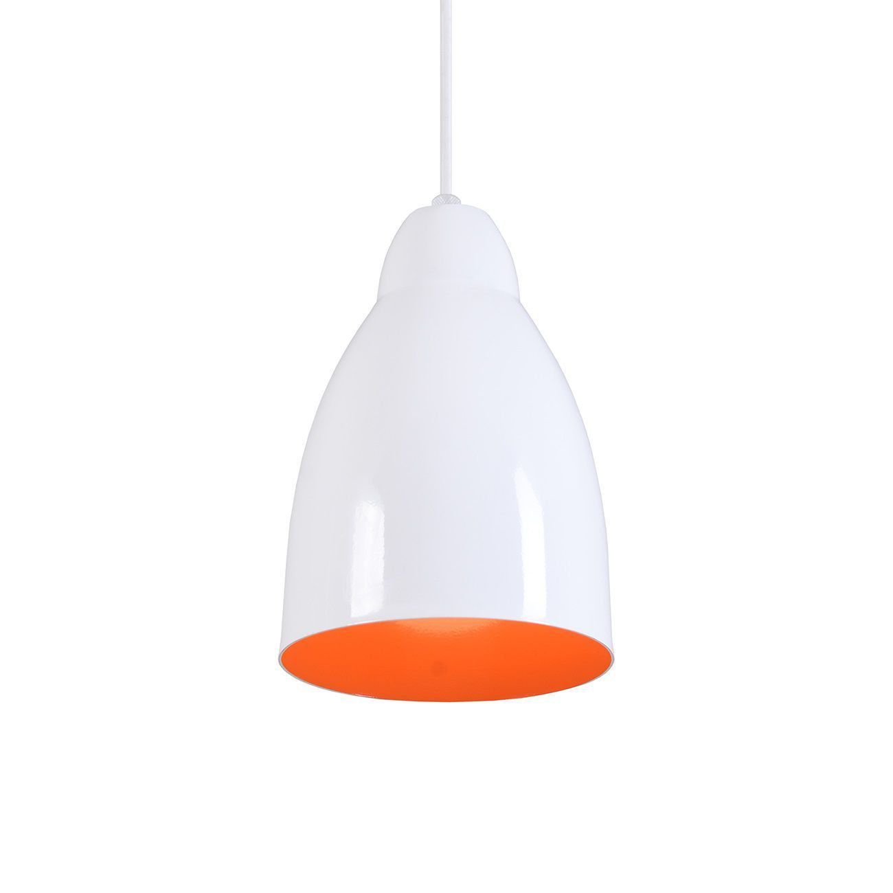 Pendente Bala Luminária Lustre Alumínio Branco Brilhante C/ Laranja - Rei Da Iluminação