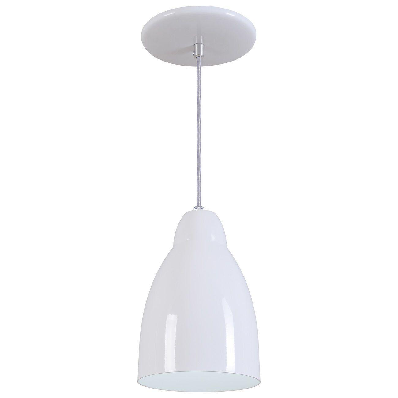 Pendente Bala Luminária Lustre Alumínio Branco Brilhante - Rei Da Iluminação