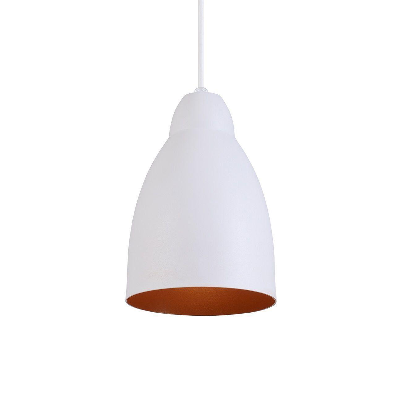 Pendente Bala Luminária Lustre Alumínio Branco Textura C/ Cobre - Rei Da Iluminação