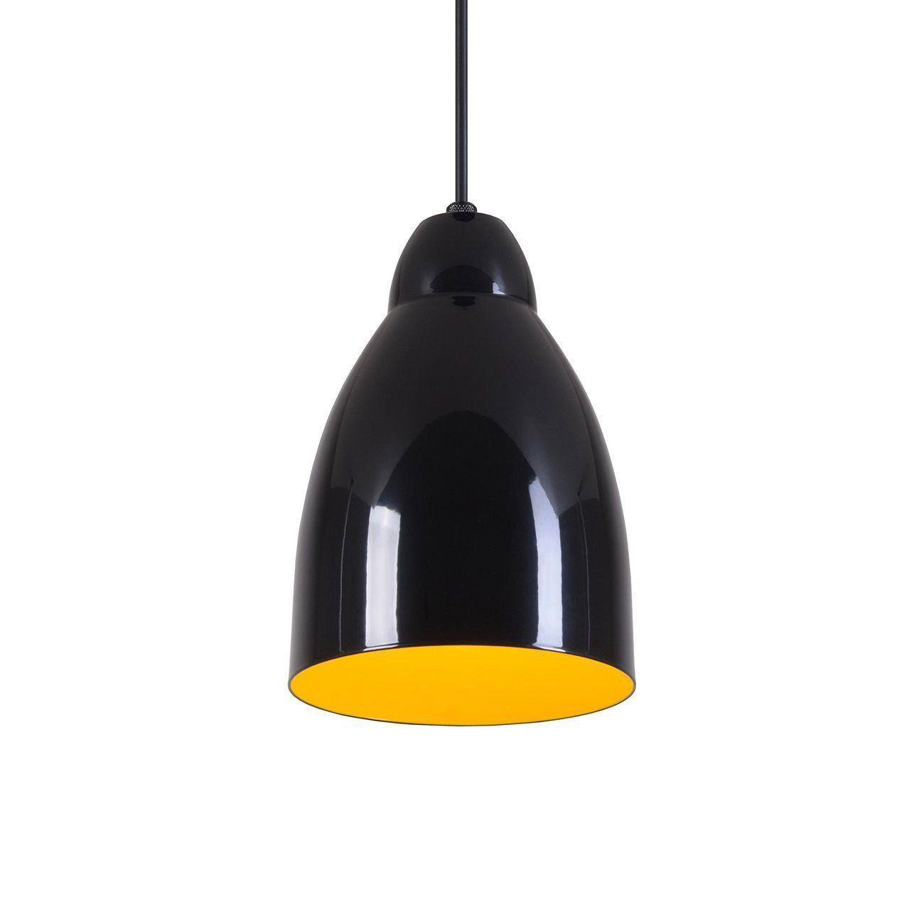 Pendente Bala Luminária Lustre Alumínio Preto Brilhante C/ Amarelo - Rei Da Iluminação