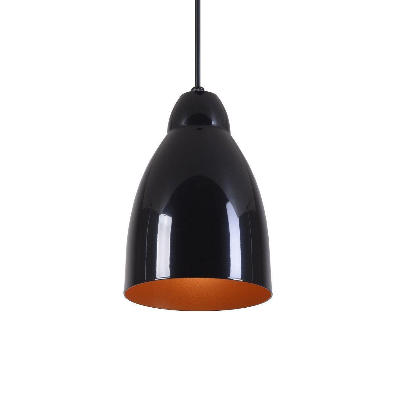 Pendente Bala Luminária Lustre Alumínio Preto Brilhante C/ Cobre - Rei Da Iluminação
