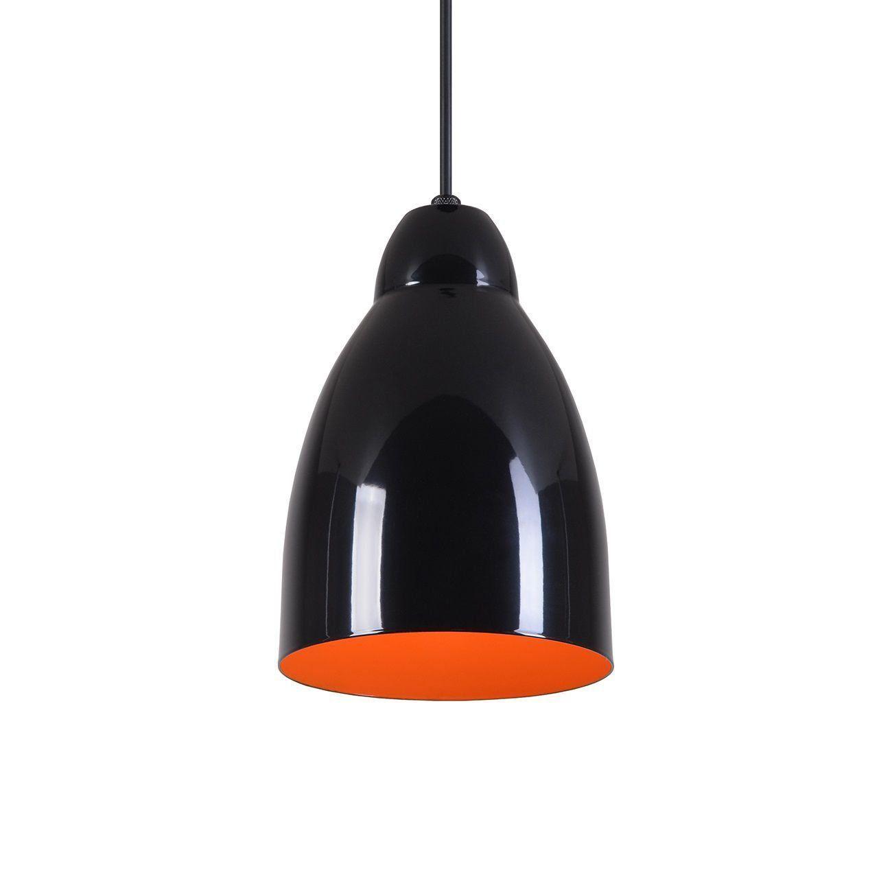 Pendente Bala Luminária Lustre Alumínio Preto Brilhante C/ Laranja - Rei Da Iluminação