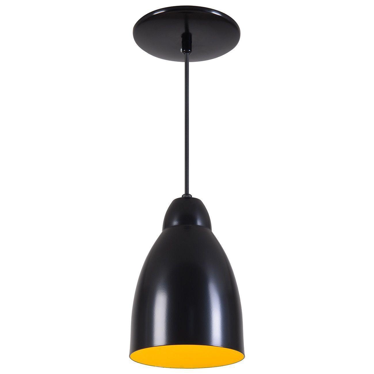 Pendente Bala Luminária Lustre Alumínio Preto Fosco C/ Amarelo - Rei Da Iluminação