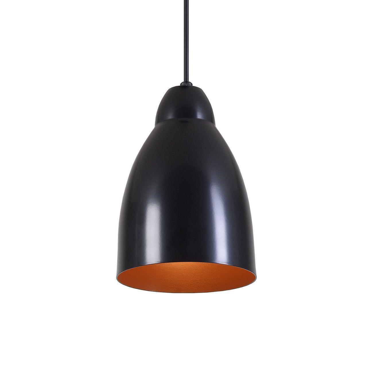 Pendente Bala Luminária Lustre Alumínio Preto Fosco C/ Cobre - Rei Da Iluminação