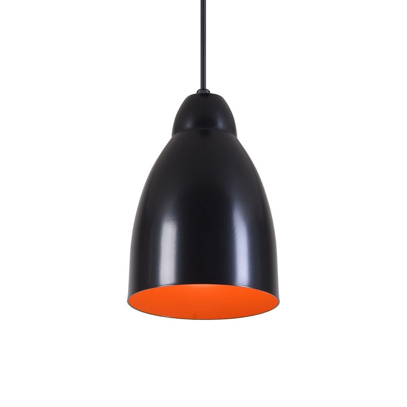 Pendente Bala Luminária Lustre Alumínio Preto Fosco C/ Laranja - Rei Da Iluminação