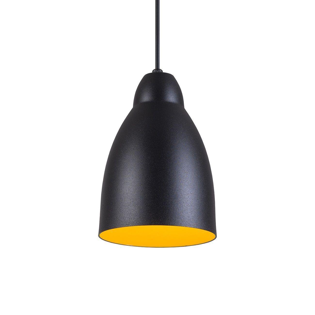 Pendente Bala Luminária Lustre Alumínio Preto Textura C/ Amarelo - Rei Da Iluminação