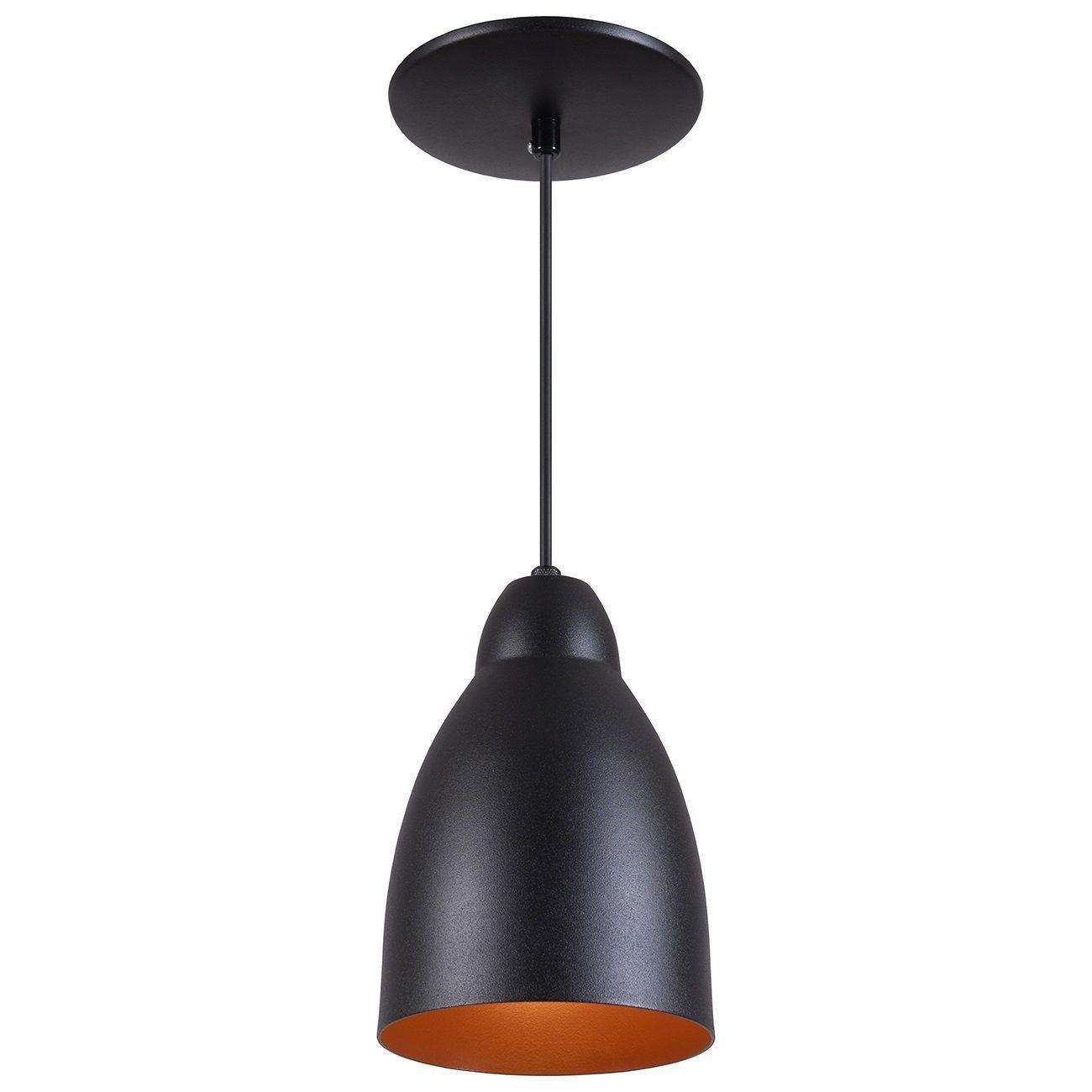 Pendente Bala Luminária Lustre Alumínio Preto Textura C/ Cobre - Rei Da Iluminação