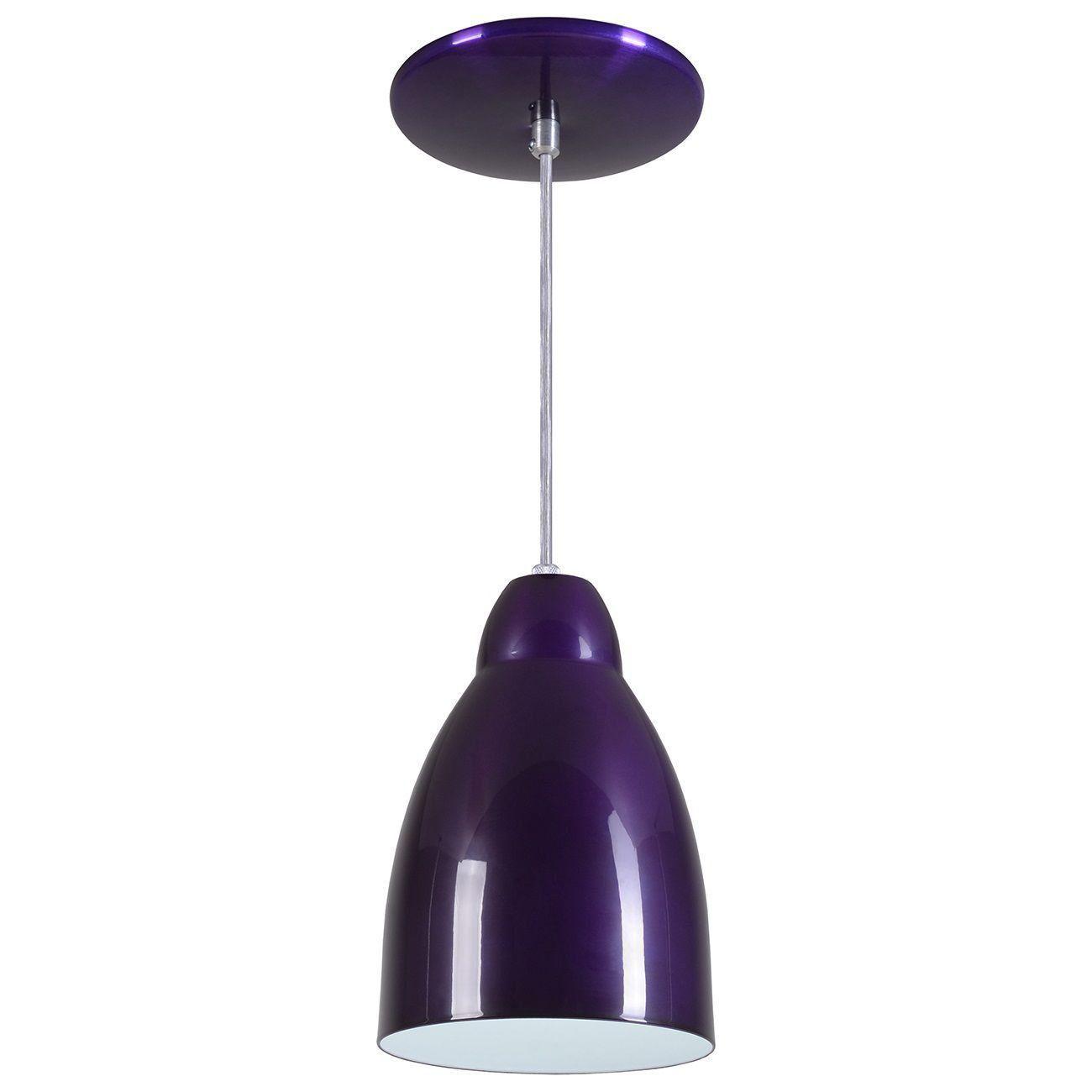 Pendente Bala Luminária Lustre Alumínio Roxo Verniz - Rei Da Iluminação