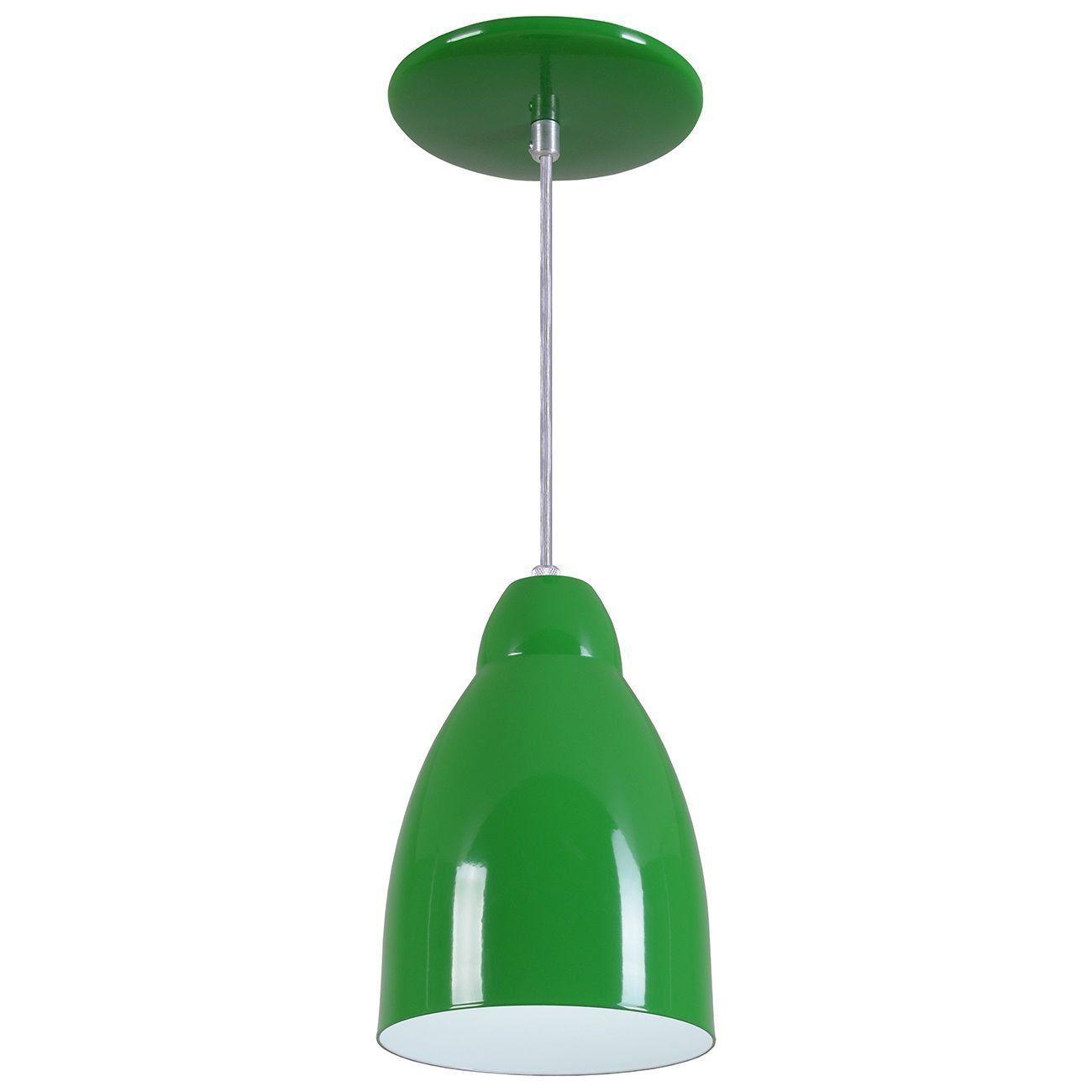 Pendente Bala Luminária Lustre Alumínio Verde - Rei Da Iluminação