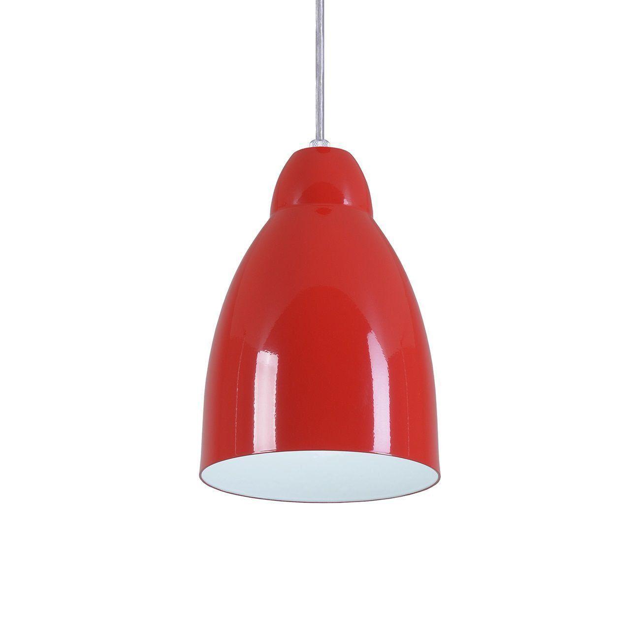 Pendente Bala Luminária Lustre Alumínio Vermelho - Rei Da Iluminação