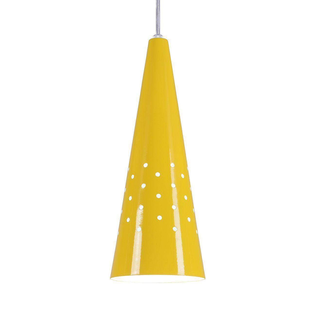 Pendente Cone Furado Luminária Lustre Alumínio Amarelo - Rei Da Iluminação