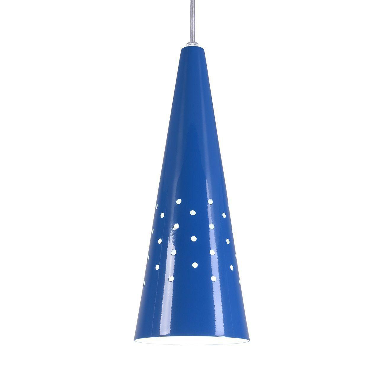 Pendente Cone Furado Luminária Lustre Alumínio Azul Royal - Rei Da Iluminação