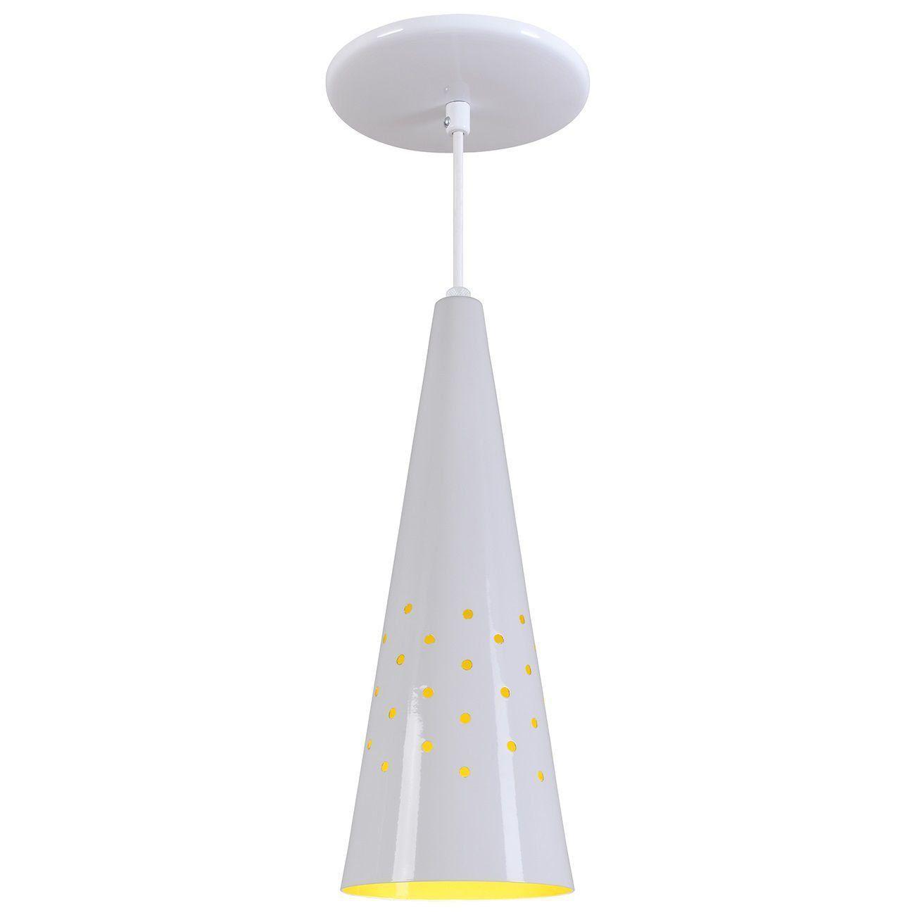 Pendente Cone Furado Luminária Lustre Alumínio Branco Brilhante C/ Amarelo - Rei Da Iluminação