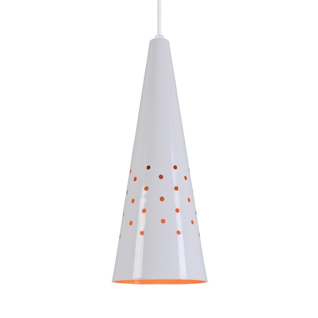Pendente Cone Furado Luminária Lustre Alumínio Branco Brilhante C/ Laranja - Rei Da Iluminação