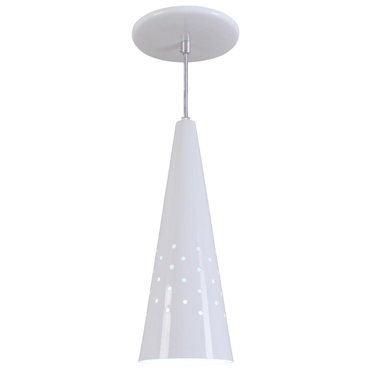 Pendente Cone Furado Luminária Lustre Alumínio Branco Brilhante - Rei Da Iluminação