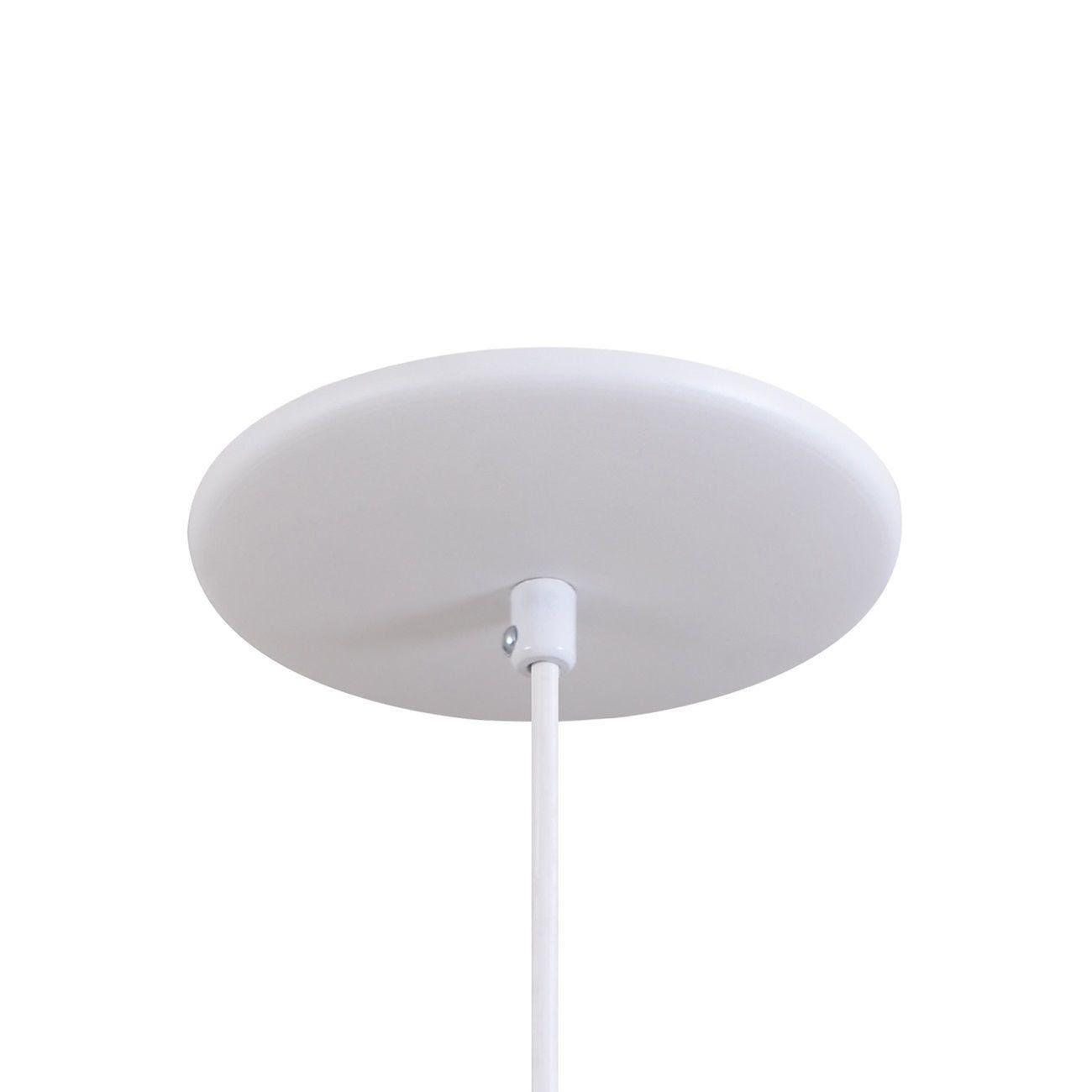 Pendente Cone Furado Luminária Lustre Alumínio Branco Textura C/ Amarelo - Rei Da Iluminação