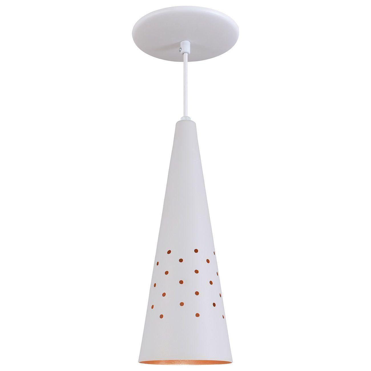 Pendente Cone Furado Luminária Lustre Alumínio Branco Textura C/ Cobre - Rei Da Iluminação