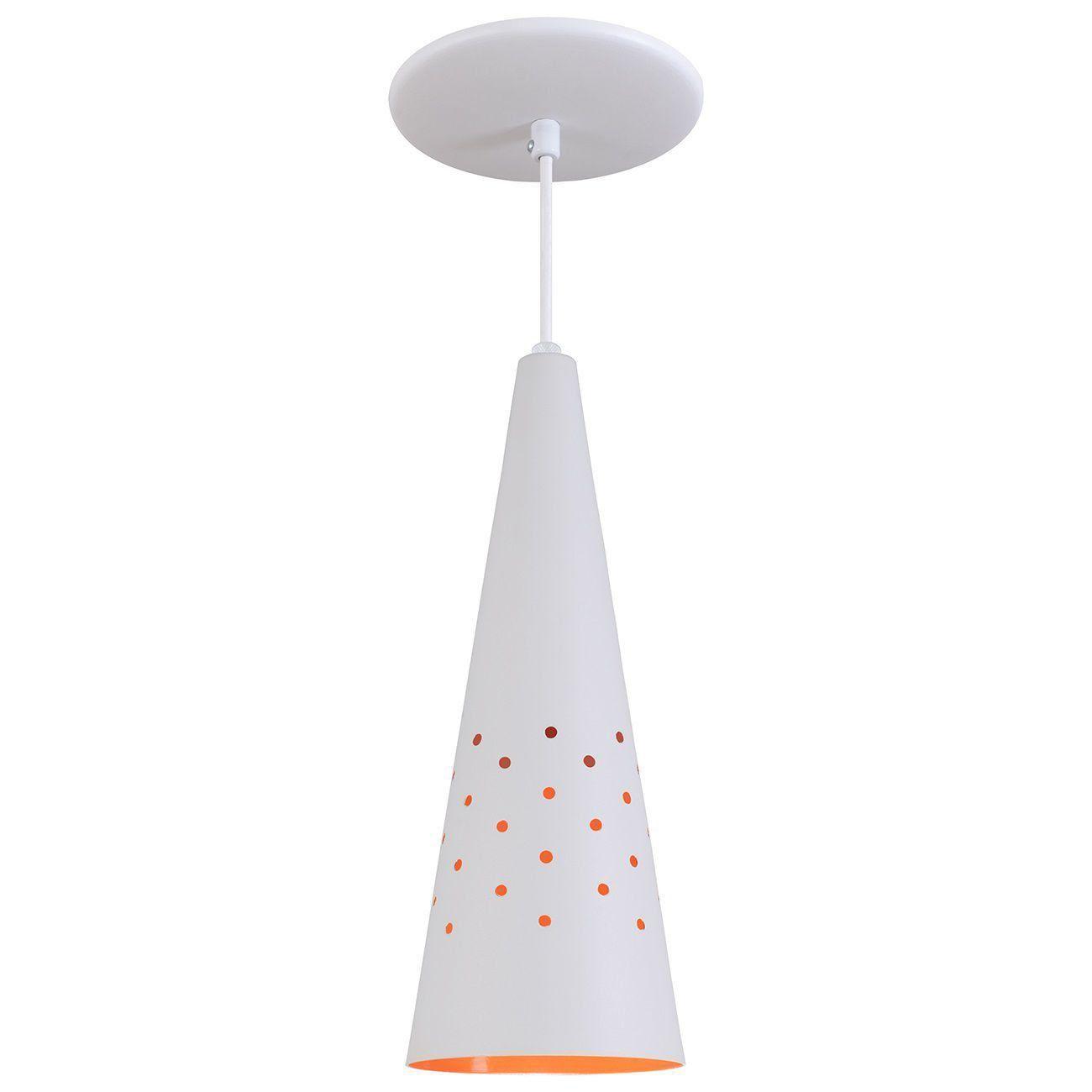 Pendente Cone Furado Luminária Lustre Alumínio Branco Textura C/ Laranja - Rei Da Iluminação