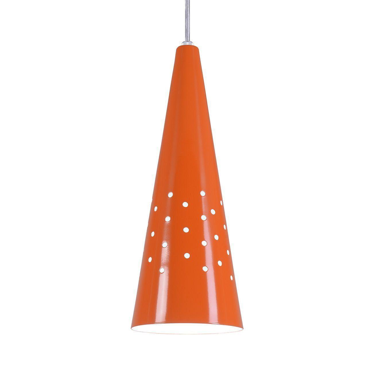 Pendente Cone Furado Luminária Lustre Alumínio Laranja - Rei Da Iluminação
