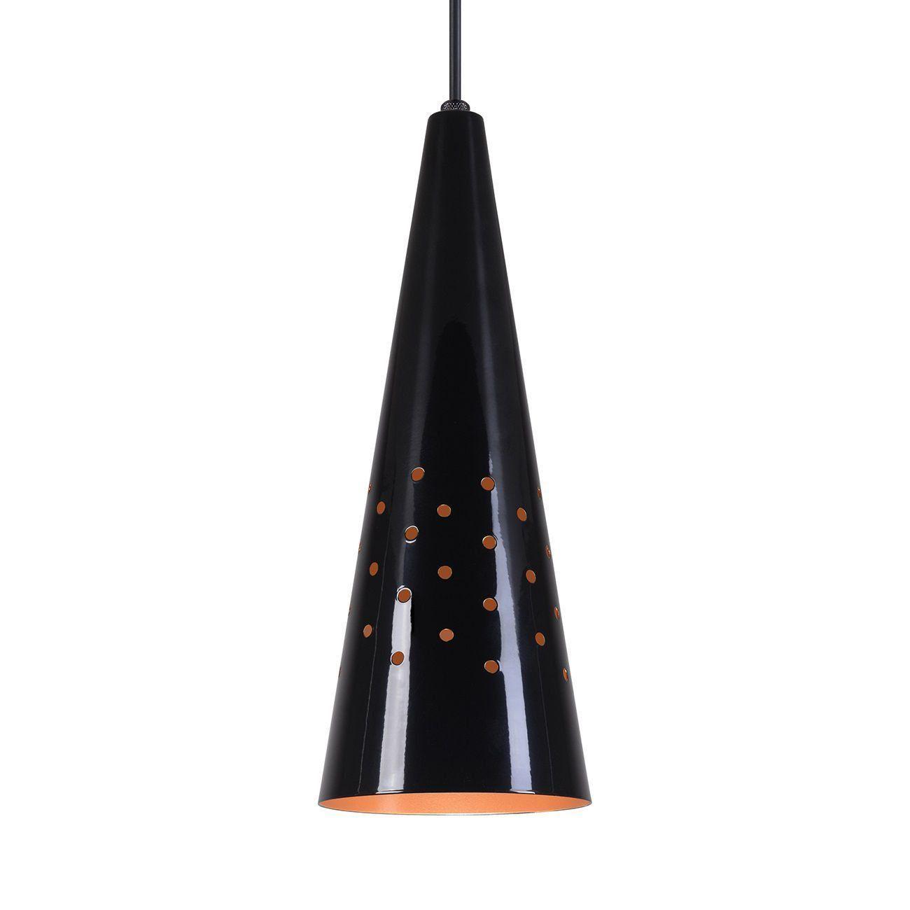 Pendente Cone Furado Luminária Lustre Alumínio Preto Brilhante C/ Cobre - Rei Da Iluminação