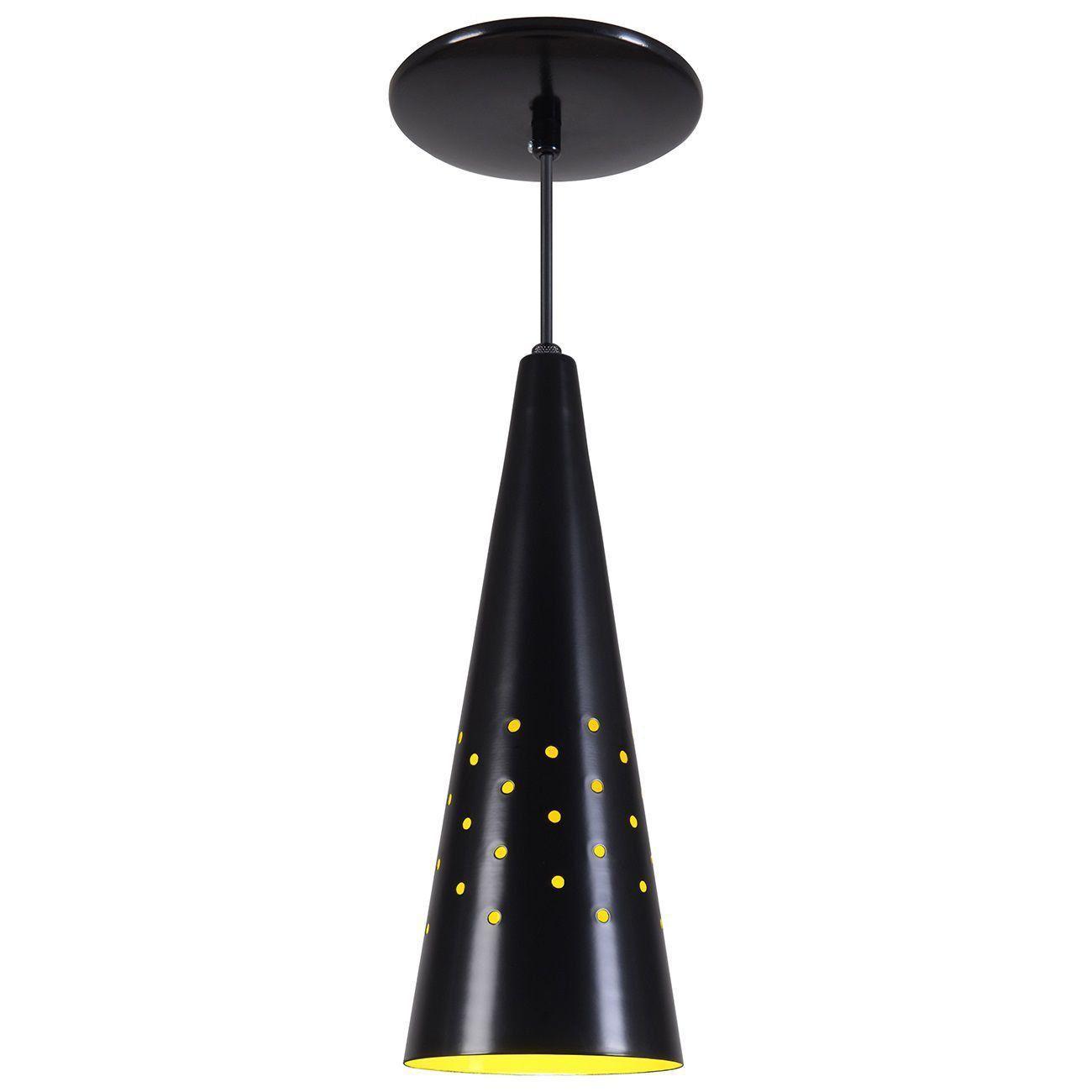 Pendente Cone Furado Luminária Lustre Alumínio Preto Fosco C/ Amarelo - Rei Da Iluminação