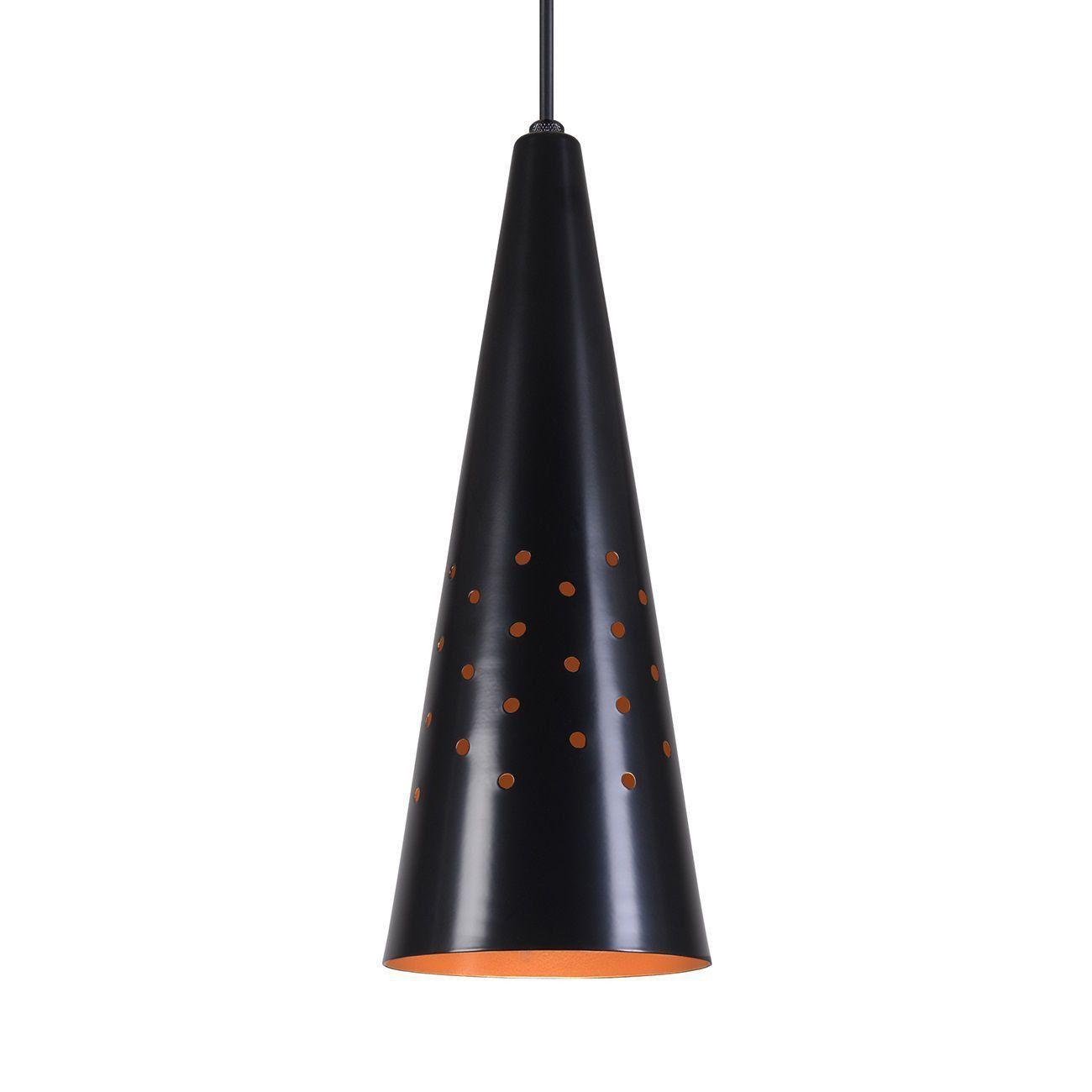 Pendente Cone Furado Luminária Lustre Alumínio Preto Fosco C/ Cobre - Rei Da Iluminação