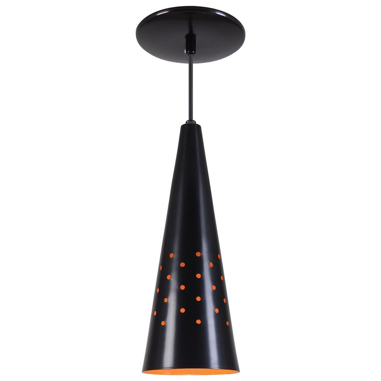 Pendente Cone Furado Luminária Lustre Alumínio Preto Fosco C/ Laranja - Rei Da Iluminação