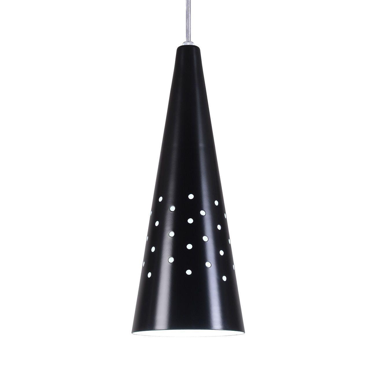Pendente Cone Furado Luminária Lustre Alumínio Preto Fosco - Rei Da Iluminação
