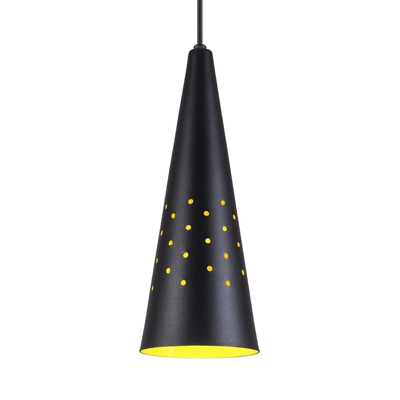 Pendente Cone Furado Luminária Lustre Alumínio Preto Textura C/ Amarelo - Rei Da Iluminação