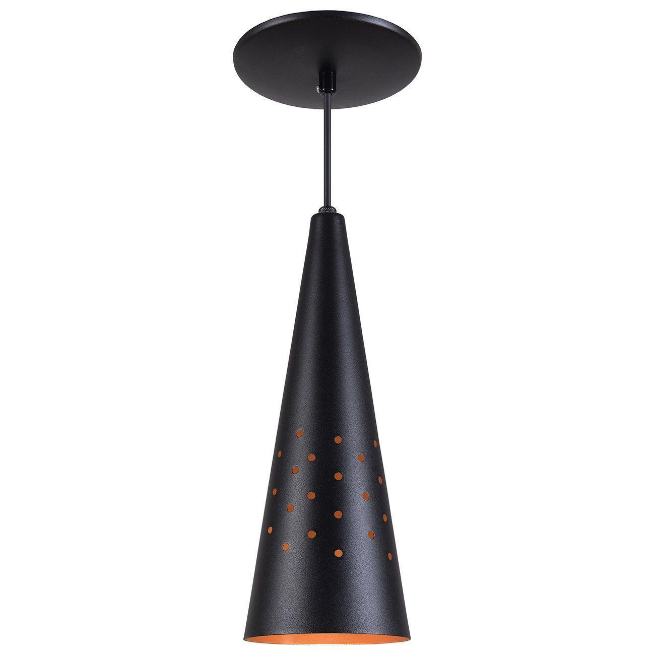 Pendente Cone Furado Luminária Lustre Alumínio Preto Textura C/ Cobre - Rei Da Iluminação