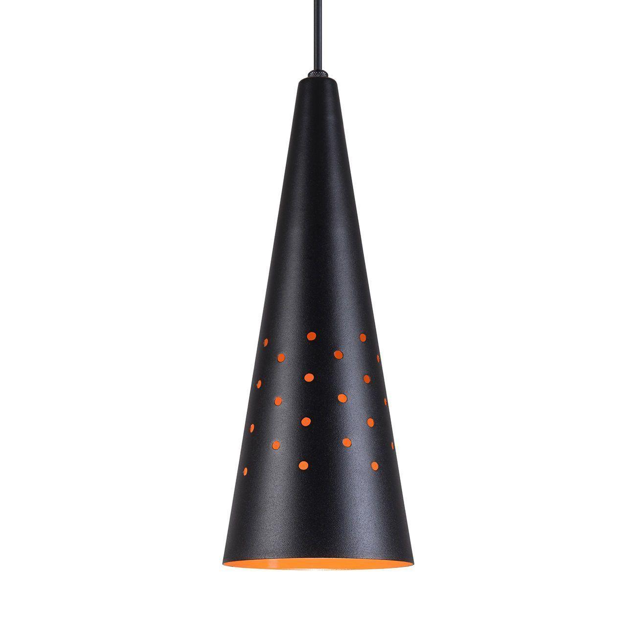 Pendente Cone Furado Luminária Lustre Alumínio Preto Textura C/ Laranja - Rei Da Iluminação