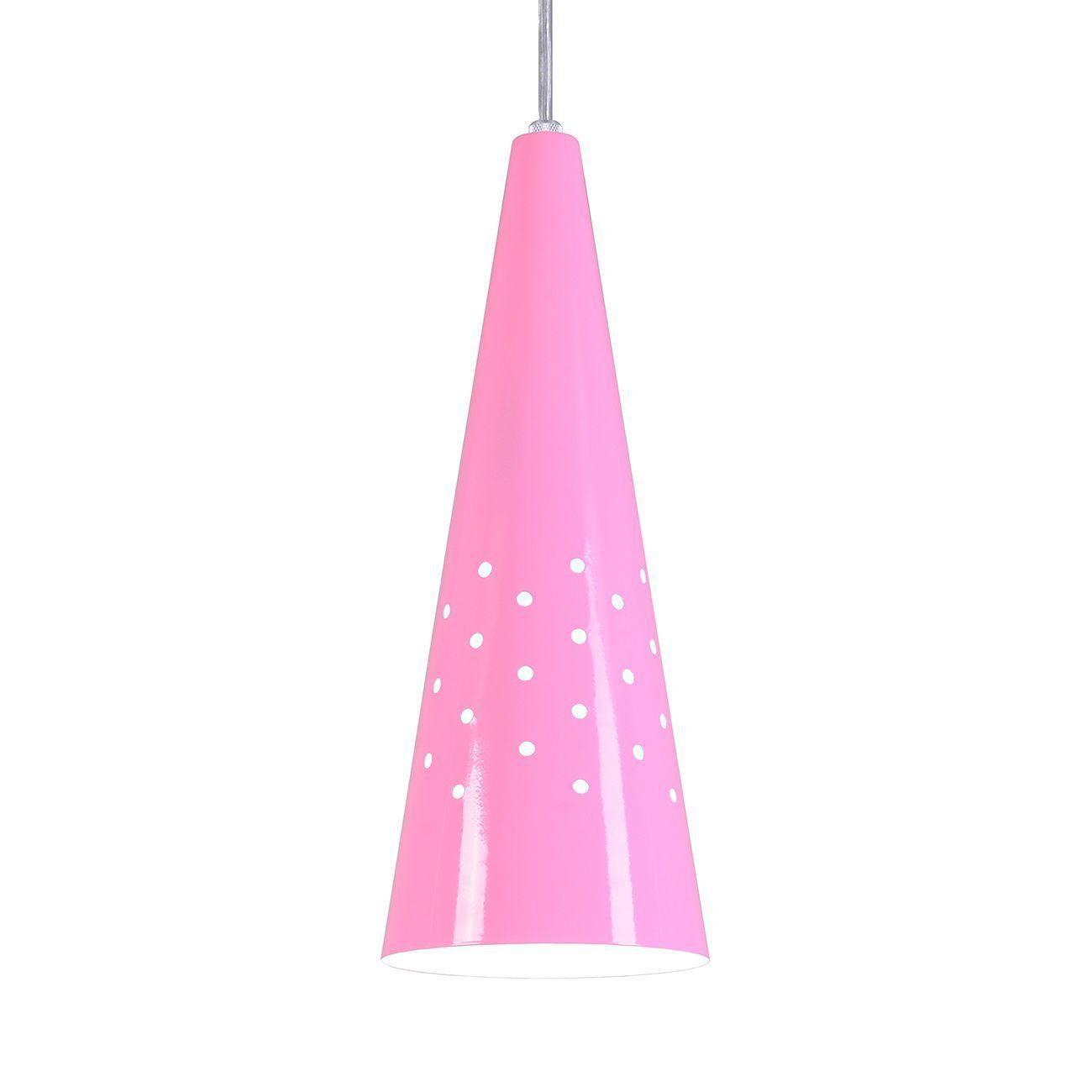 Pendente Cone Furado Luminária Lustre Alumínio Rosa - Rei Da Iluminação