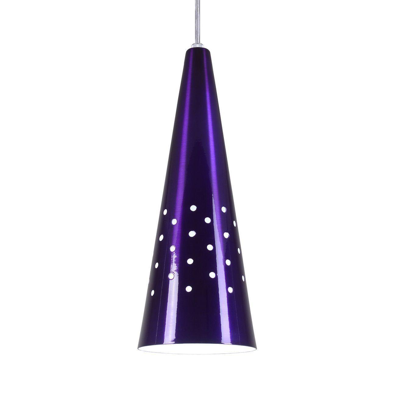 Pendente Cone Furado Luminária Lustre Alumínio Roxo Verniz - Rei Da Iluminação