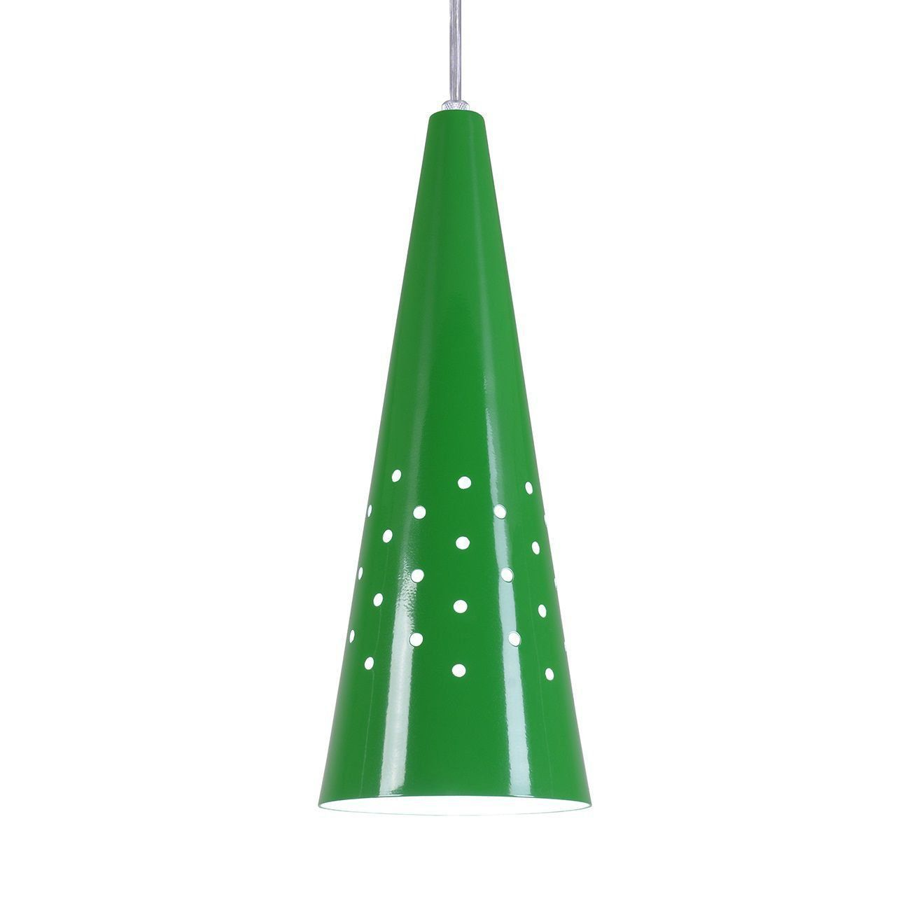 Pendente Cone Furado Luminária Lustre Alumínio Verde - Rei Da Iluminação