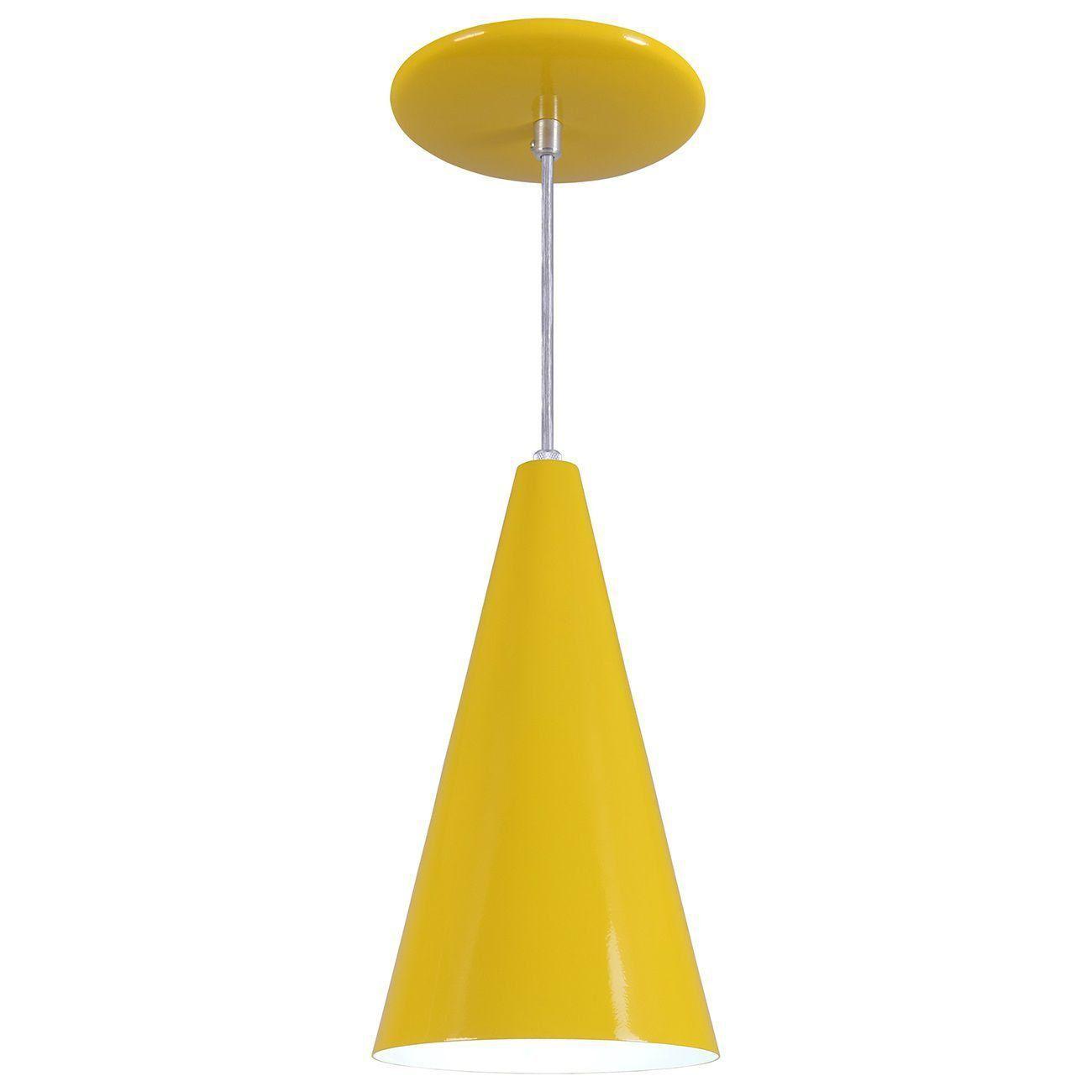 Pendente Cone Luminária Lustre Alumínio Amarelo - Rei Da Iluminação