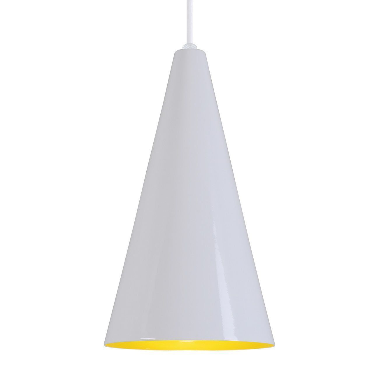 Pendente Cone Luminária Lustre Alumínio Branco Brilhante C/ Amarelo - Rei Da Iluminação