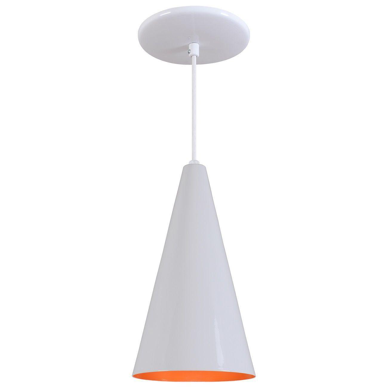 Pendente Cone Luminária Lustre Alumínio Branco Brilhante C/ Laranja - Rei Da Iluminação