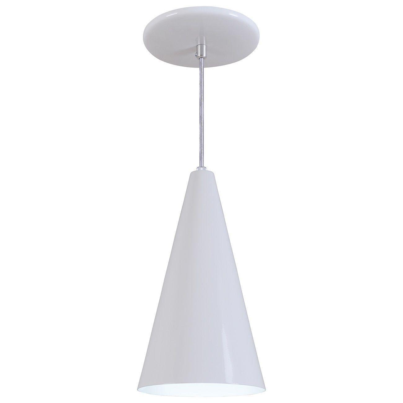 Pendente Cone Luminária Lustre Alumínio Branco Brilhante - Rei Da Iluminação