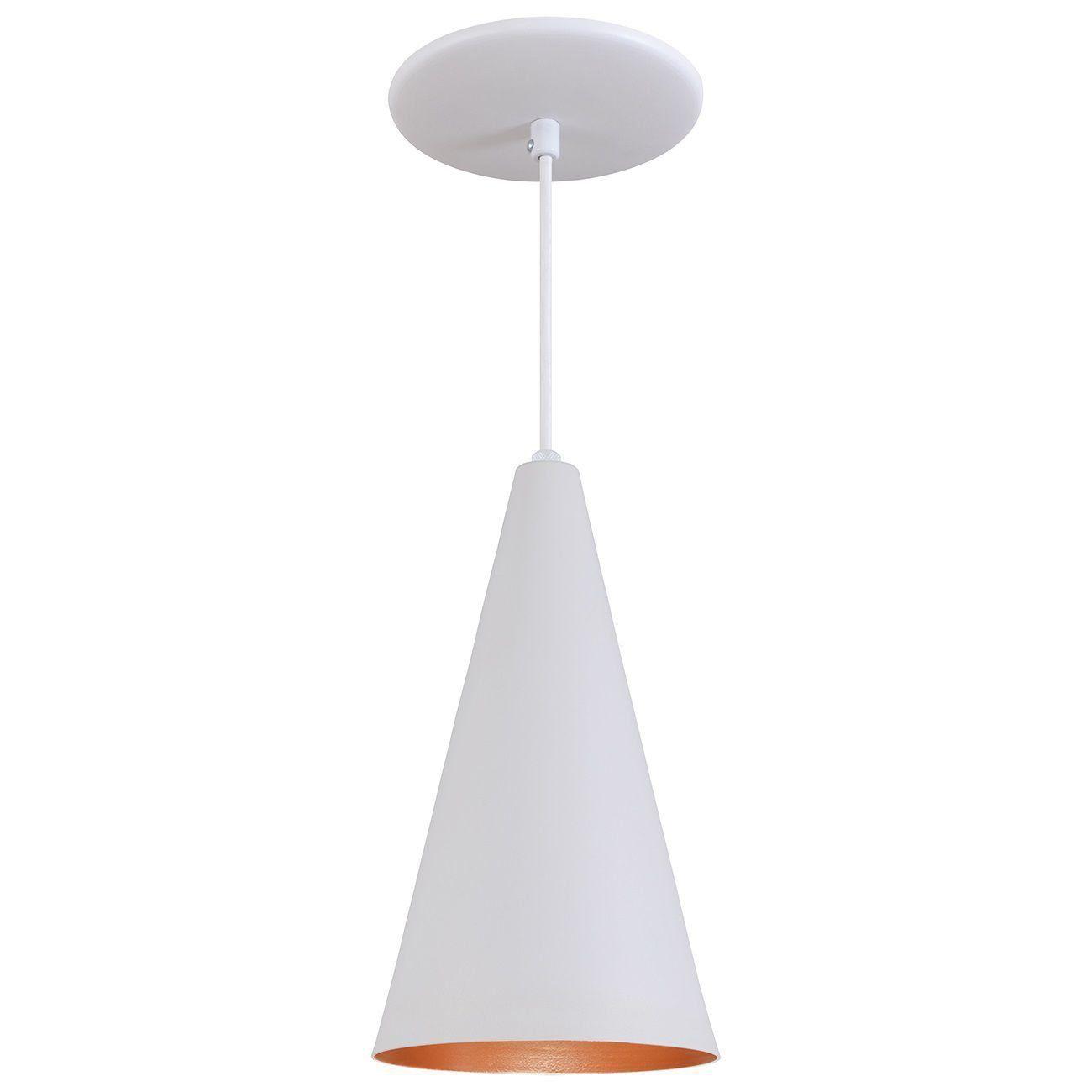 Pendente Cone Luminária Lustre Alumínio Branco Textura C/ Cobre - Rei Da Iluminação